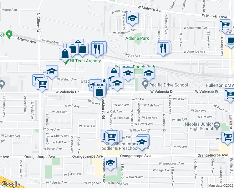 map of restaurants, bars, coffee shops, grocery stores, and more near 225 South Wanda Drive in Fullerton