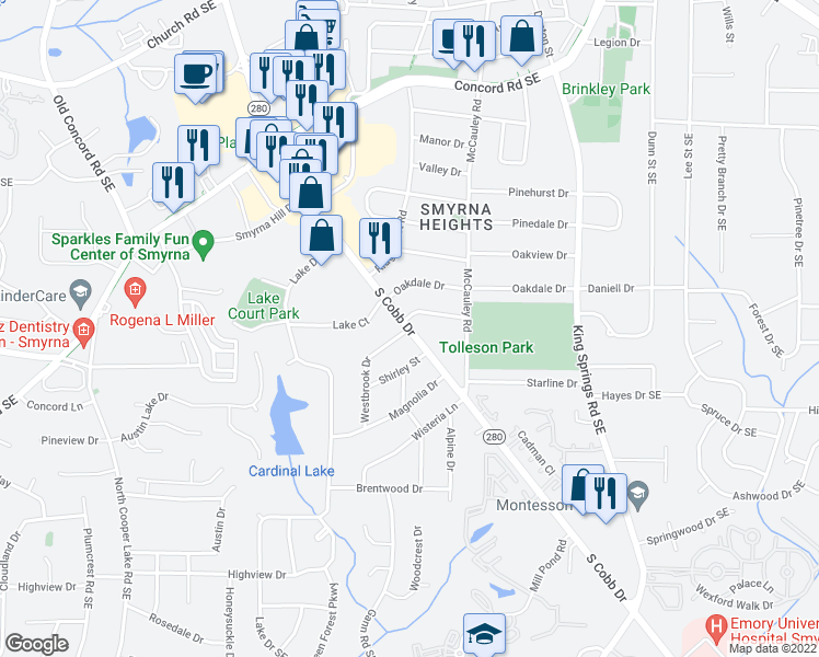 map of restaurants, bars, coffee shops, grocery stores, and more near 960-1050 Magbee Drive in Smyrna