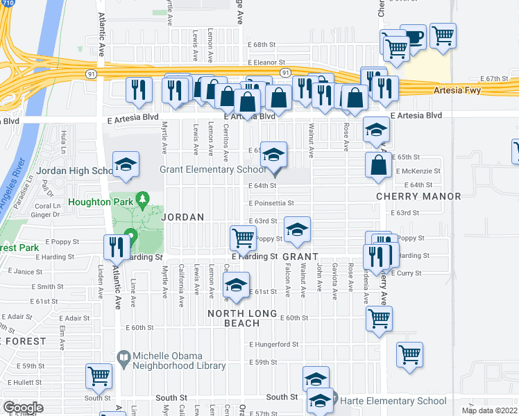 map of restaurants, bars, coffee shops, grocery stores, and more near 1302 East Poinsettia Street in Long Beach