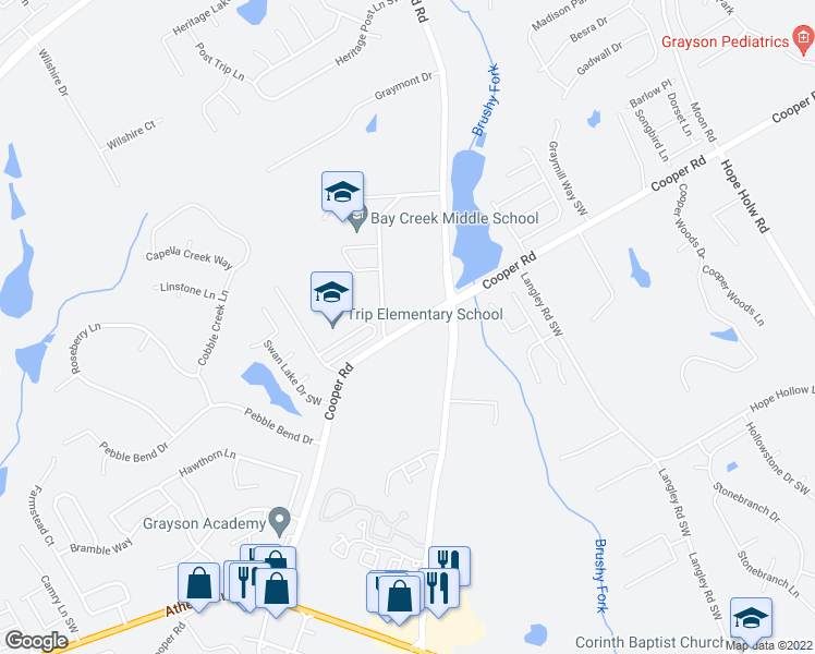 map of restaurants, bars, coffee shops, grocery stores, and more near 795 Cooper Road in Grayson