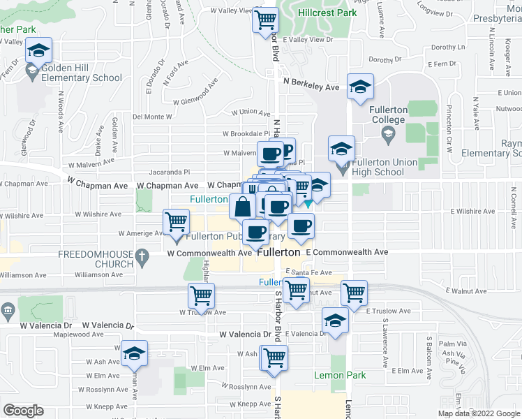 map of restaurants, bars, coffee shops, grocery stores, and more near 126 West Whiting Avenue in Fullerton