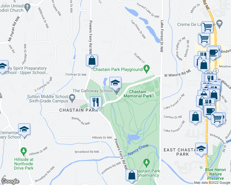 map of restaurants, bars, coffee shops, grocery stores, and more near 216 W Wieuca Rd NW in Atlanta