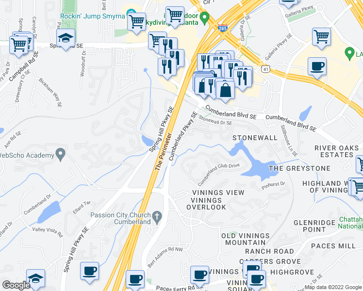 map of restaurants, bars, coffee shops, grocery stores, and more near 2004 Silver Comet Trail Cumberland Connector in Atlanta
