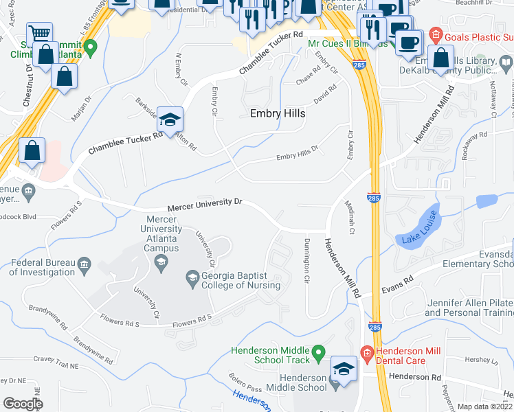 map of restaurants, bars, coffee shops, grocery stores, and more near 3253 Mercer University Drive in Atlanta