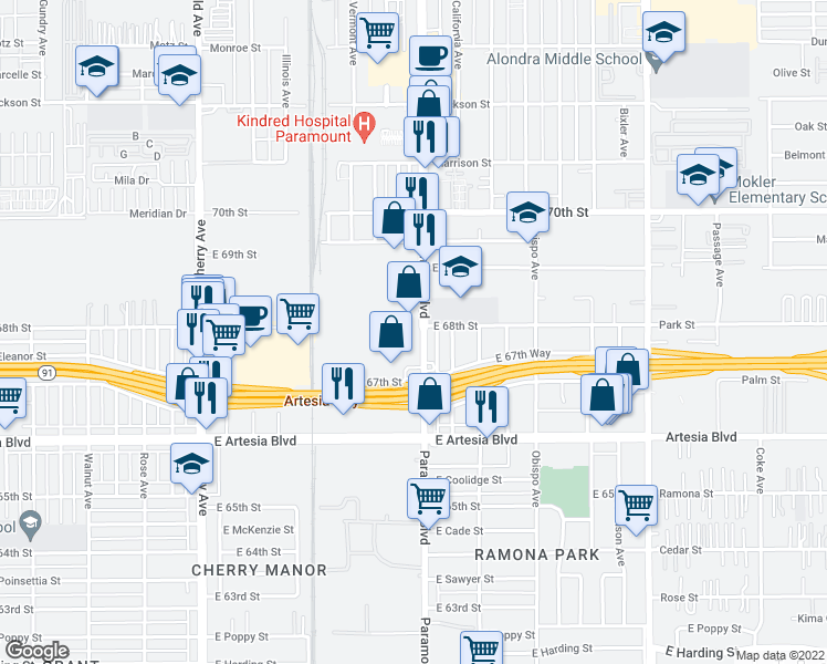 map of restaurants, bars, coffee shops, grocery stores, and more near 6795 N Paramount Blvd in Long Beach