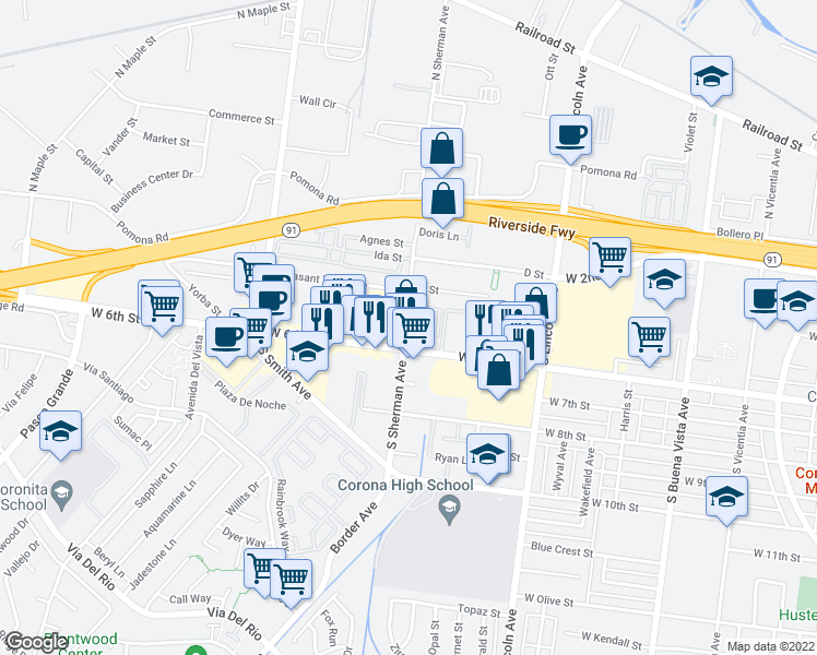 map of restaurants, bars, coffee shops, grocery stores, and more near 2-88 Summerwood Court in Corona