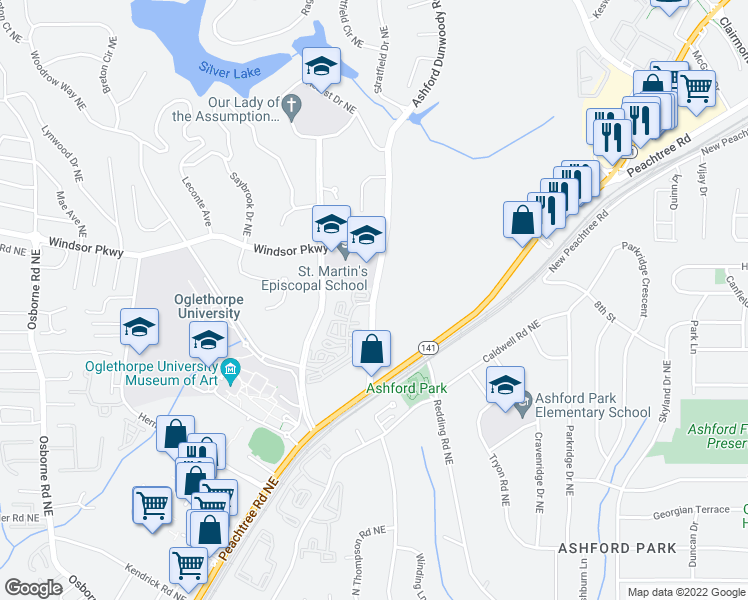 map of restaurants, bars, coffee shops, grocery stores, and more near 3079 Ashford Dunwoody Road Northeast in Atlanta