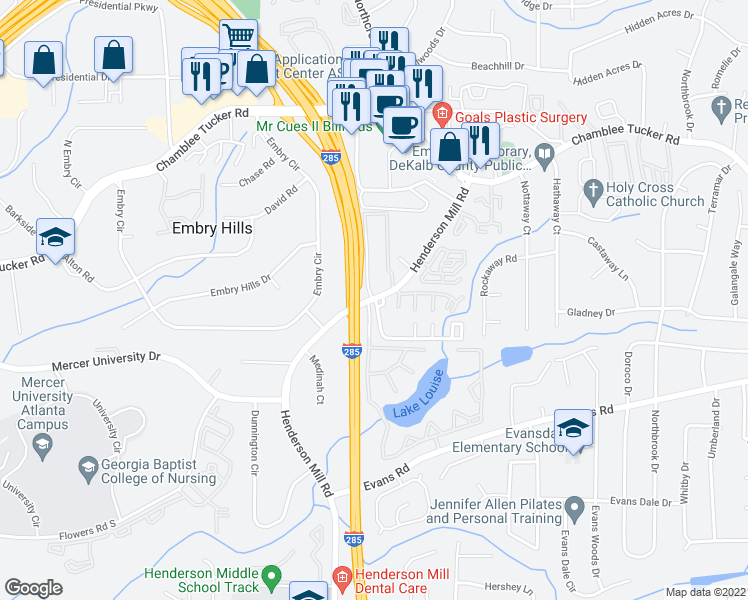map of restaurants, bars, coffee shops, grocery stores, and more near 3216-3230 Henderson Mill Road in Atlanta
