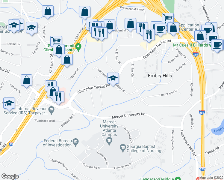 map of restaurants, bars, coffee shops, grocery stores, and more near 3075 Alton Rd in Atlanta