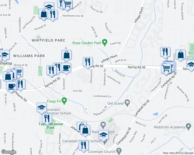 map of restaurants, bars, coffee shops, grocery stores, and more near Corn Road in Smyrna