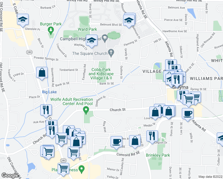 map of restaurants, bars, coffee shops, grocery stores, and more near 979-1039 Madison Lane in Smyrna