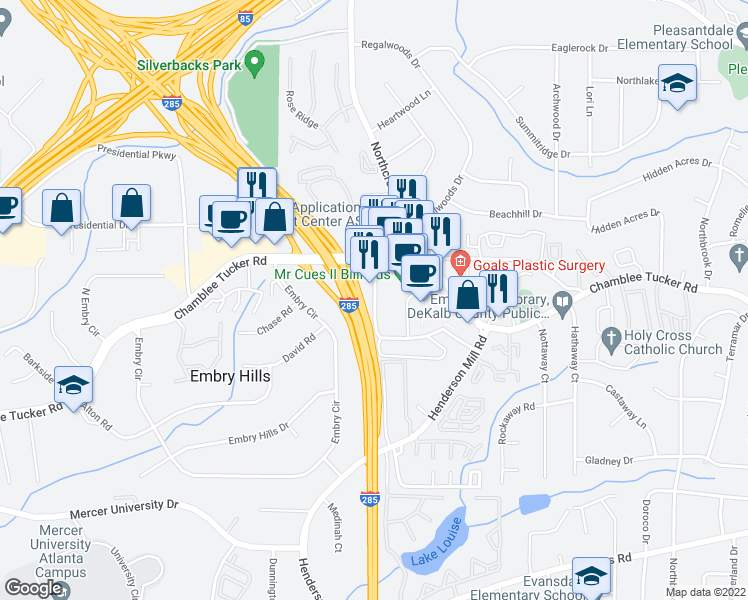 map of restaurants, bars, coffee shops, grocery stores, and more near 3585 Chamblee Tucker Rd in Atlanta