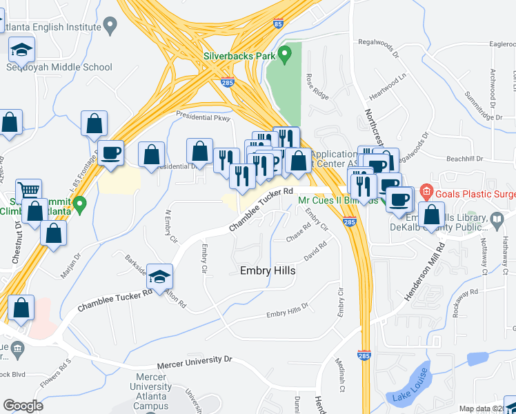 map of restaurants, bars, coffee shops, grocery stores, and more near 3322 Chamblee Tucker Rd in Atlanta