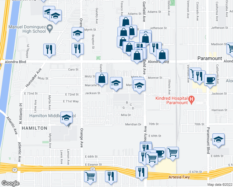 map of restaurants, bars, coffee shops, grocery stores, and more near 7220 Jackson Street in Paramount