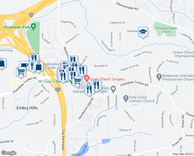 map of restaurants, bars, coffee shops, grocery stores, and more near 3543 Old Chamblee Tucker Road in Doraville
