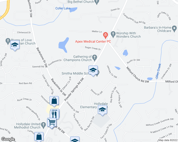 map of restaurants, bars, coffee shops, grocery stores, and more near Powder Springs Road Southwest in Marietta