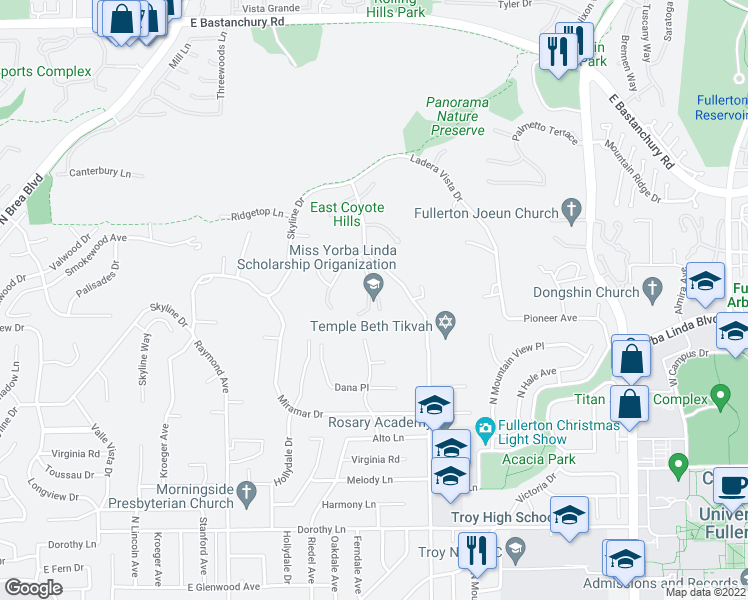 map of restaurants, bars, coffee shops, grocery stores, and more near 1731 Vista Lomitas Pl in Fullerton