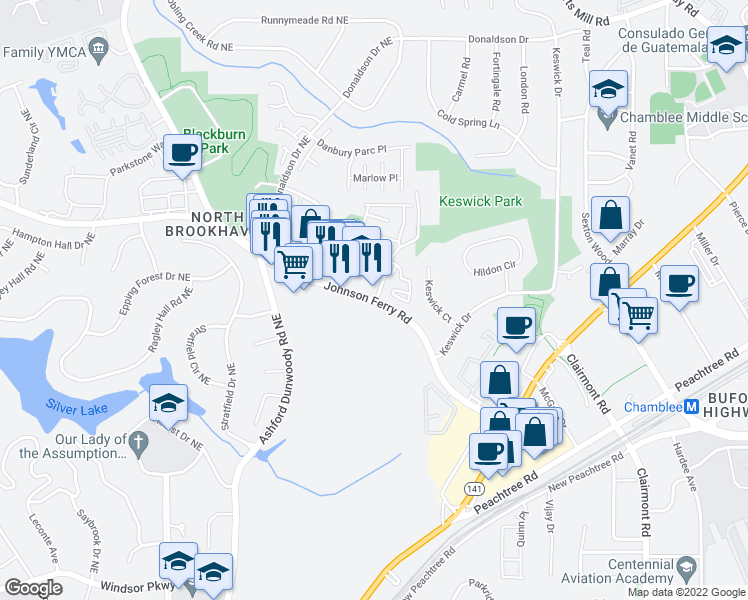 map of restaurants, bars, coffee shops, grocery stores, and more near 3400-3428 Durden Drive Northeast in Atlanta