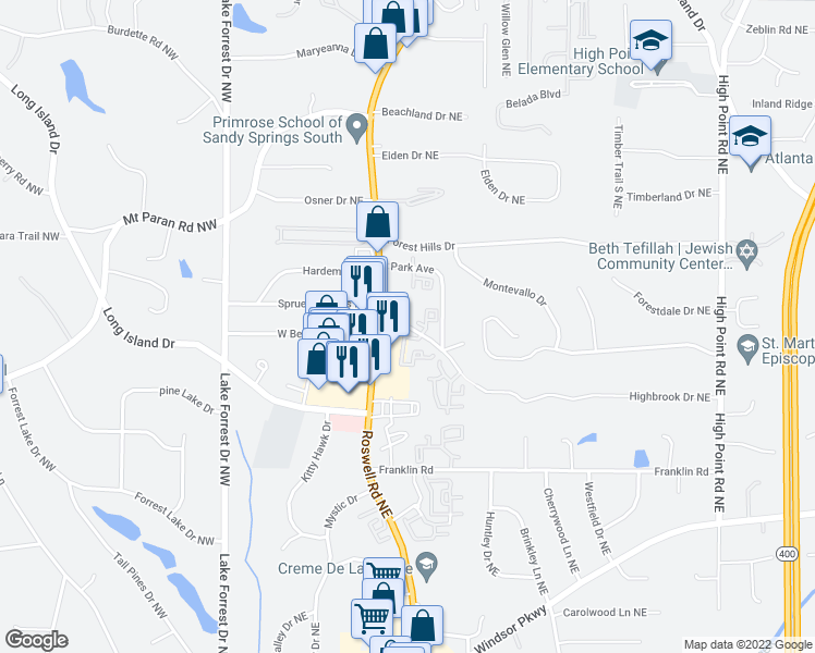map of restaurants, bars, coffee shops, grocery stores, and more near 913 Waterford Place Northeast in Sandy Springs
