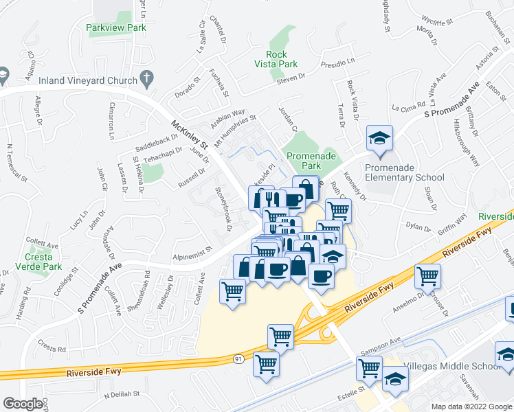 map of restaurants, bars, coffee shops, grocery stores, and more near Shoreview Dr in Corona
