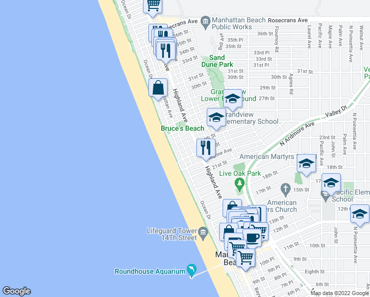 map of restaurants, bars, coffee shops, grocery stores, and more near Manhattan Ave & 24th St in Manhattan Beach