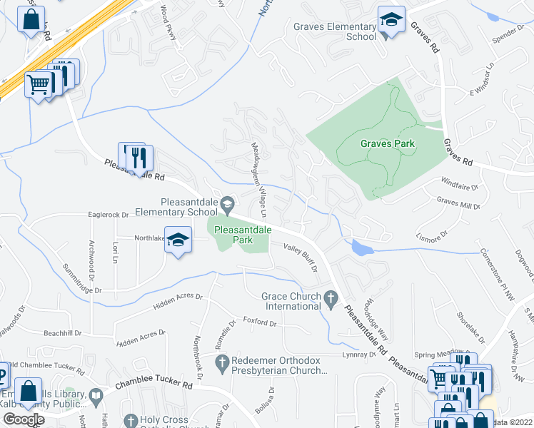 map of restaurants, bars, coffee shops, grocery stores, and more near 3632-3640 Pleasantdale Road in Atlanta
