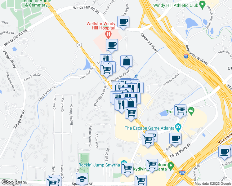 map of restaurants, bars, coffee shops, grocery stores, and more near 2350 Georgia 3 in Smyrna