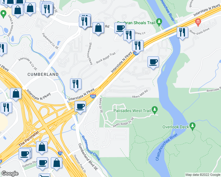 map of restaurants, bars, coffee shops, grocery stores, and more near None in Cobb County