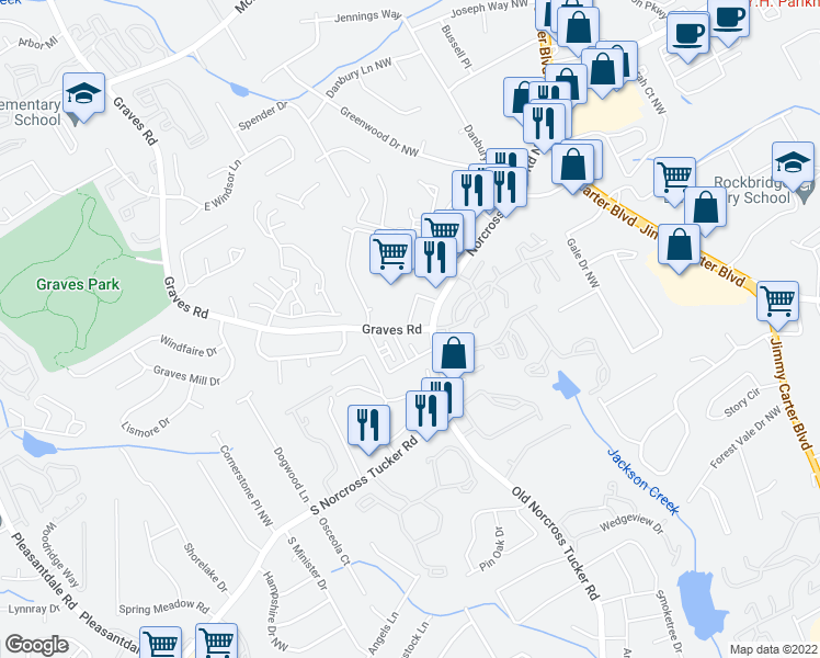 map of restaurants, bars, coffee shops, grocery stores, and more near 1695 Graves Rd NW in Norcross