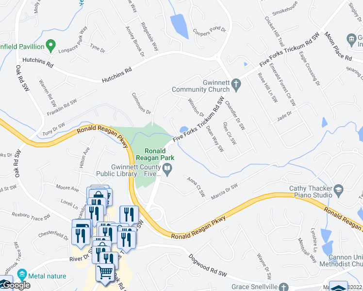 map of restaurants, bars, coffee shops, grocery stores, and more near 2704 Five Forks Trickum Road in Lawrenceville