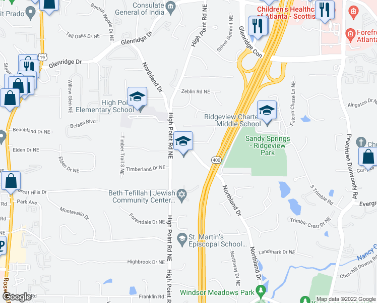 map of restaurants, bars, coffee shops, grocery stores, and more near 130-140 Inland Dr NE in Sandy Springs
