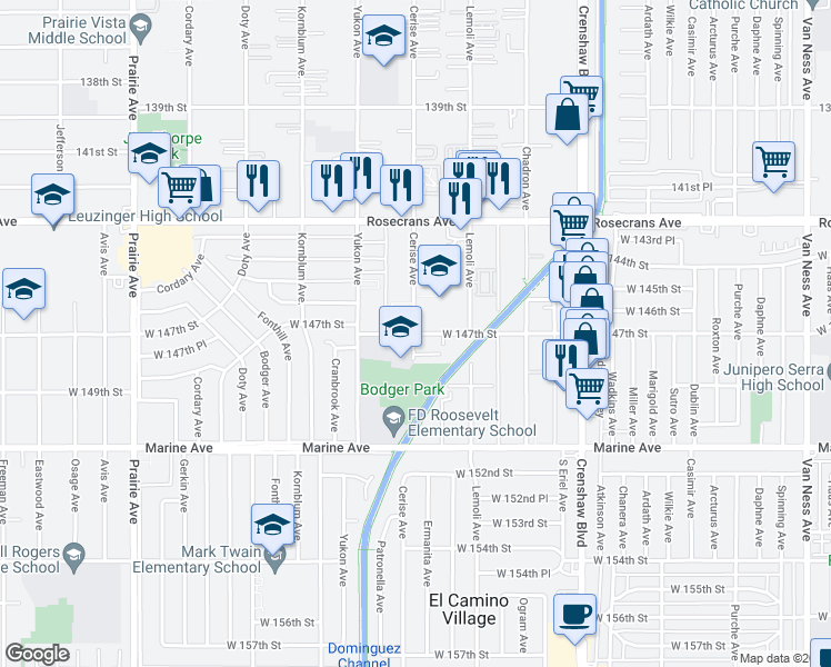 map of restaurants, bars, coffee shops, grocery stores, and more near 3515 W 147th St in Hawthorne