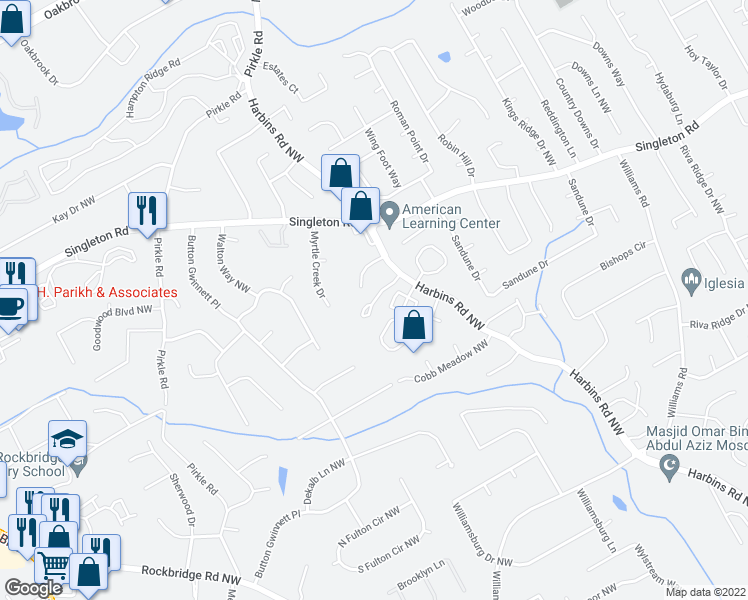map of restaurants, bars, coffee shops, grocery stores, and more near 5601-5699 Harbinwood Dr in Norcross