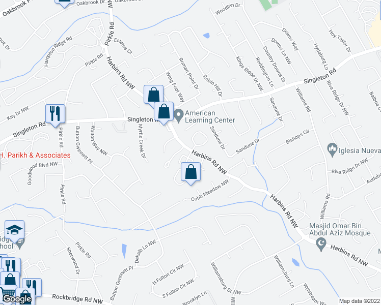 map of restaurants, bars, coffee shops, grocery stores, and more near 100-670 Hamptons Crossing in Norcross