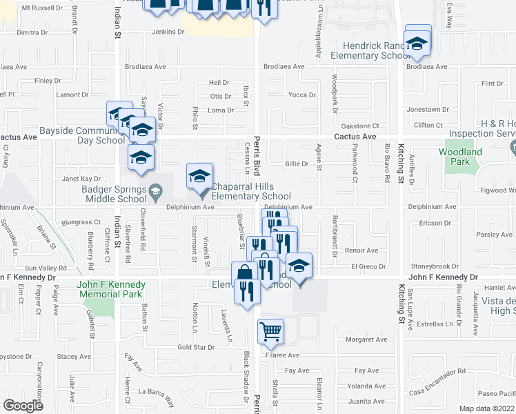 map of restaurants, bars, coffee shops, grocery stores, and more near Perris Blvd & Delphinium Ave in Moreno Valley