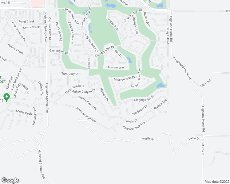 map of restaurants, bars, coffee shops, grocery stores, and more near 1659 Crystal Downs Street in Banning
