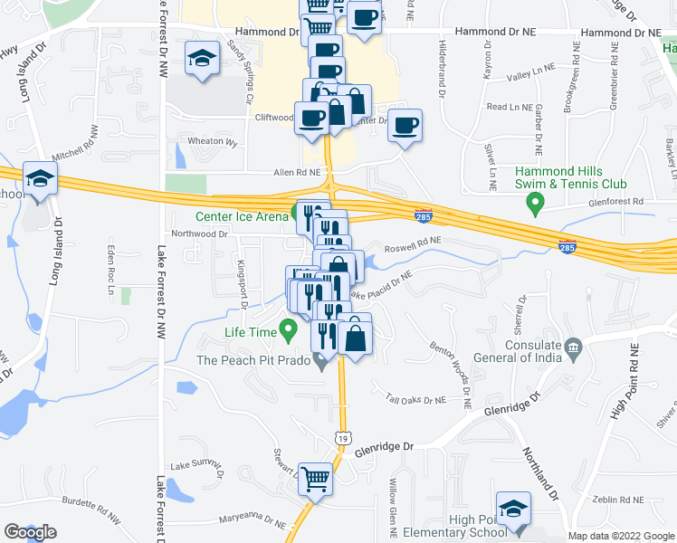 map of restaurants, bars, coffee shops, grocery stores, and more near 5663 Lake Placid Drive Northeast in Sandy Springs