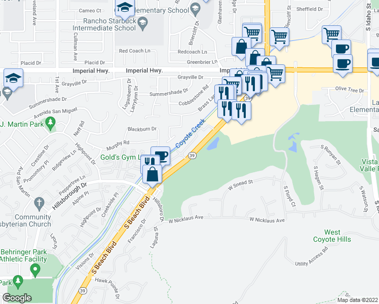 map of restaurants, bars, coffee shops, grocery stores, and more near Coyote Creek Bikeway in La Habra