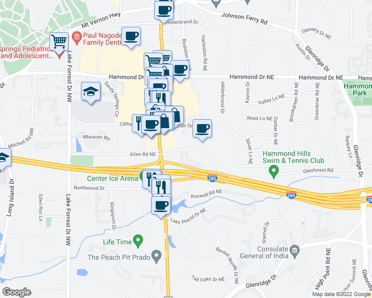 map of restaurants, bars, coffee shops, grocery stores, and more near 346 Carpenter Drive Northeast in Atlanta