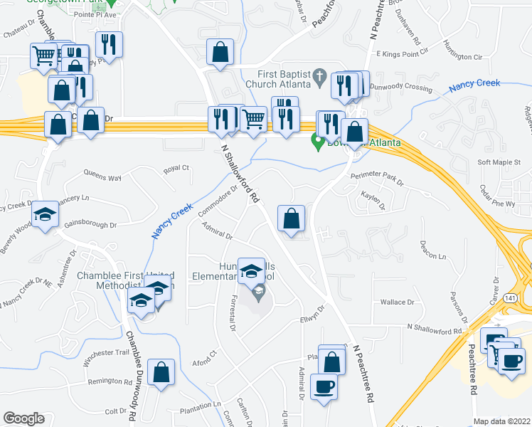 map of restaurants, bars, coffee shops, grocery stores, and more near 4199 Longview Dr in Chamblee