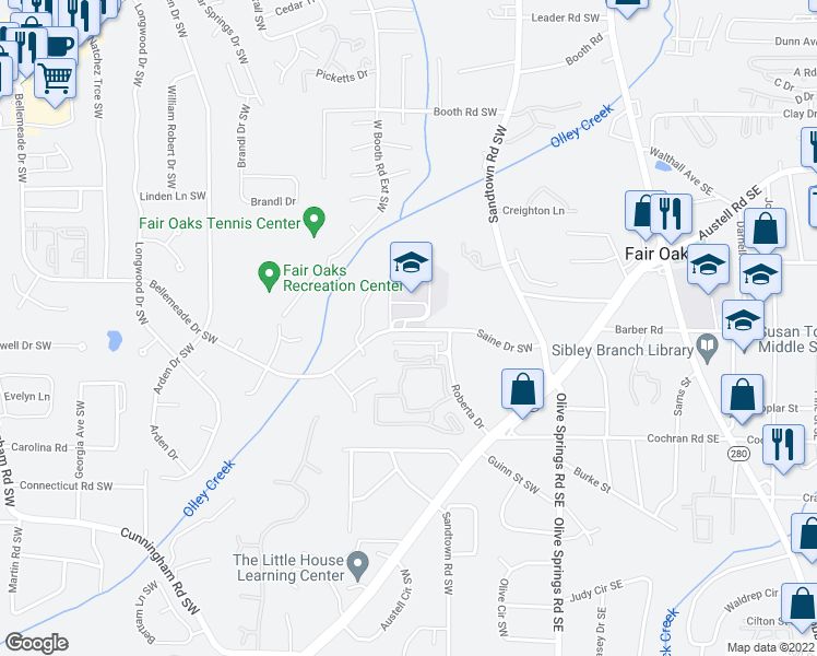 map of restaurants, bars, coffee shops, grocery stores, and more near 162-198 Saine Drive Southwest in Marietta