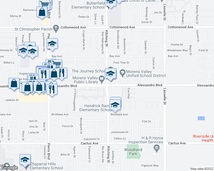 map of restaurants, bars, coffee shops, grocery stores, and more near Alessandro Blvd & Kitching St in Moreno Valley