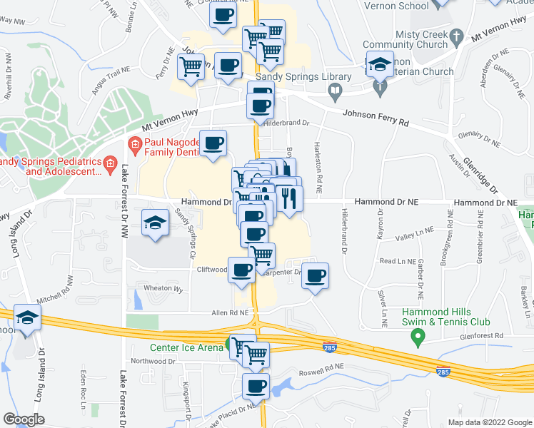 map of restaurants, bars, coffee shops, grocery stores, and more near 5975 Roswell Road in Sandy Springs
