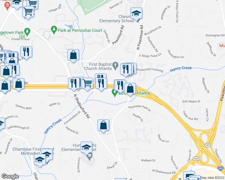 map of restaurants, bars, coffee shops, grocery stores, and more near 2175 Savoy Dr in Atlanta