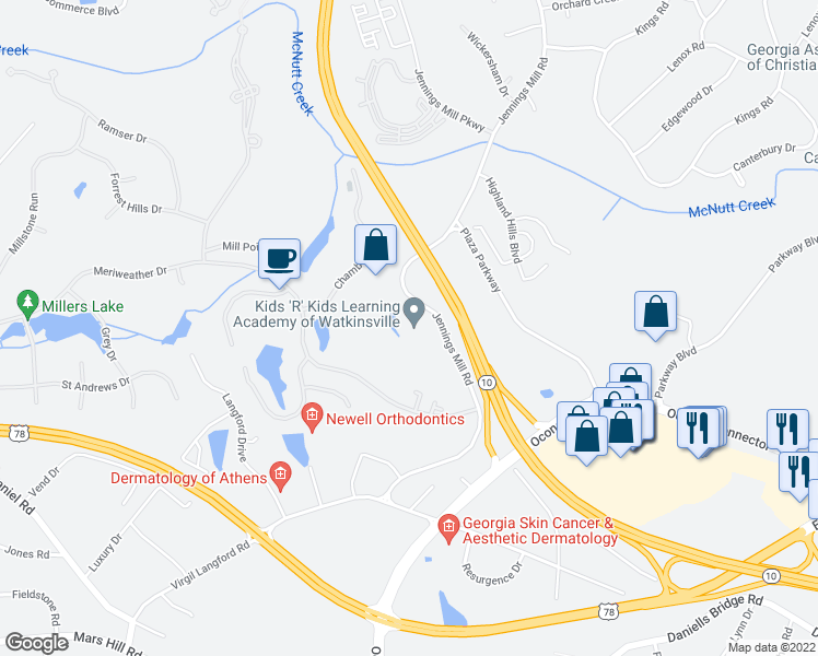 map of restaurants, bars, coffee shops, grocery stores, and more near 1471 Jennings Mill Road in Bogart