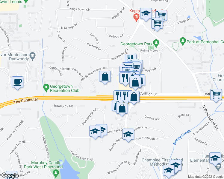 map of restaurants, bars, coffee shops, grocery stores, and more near 4472 Chamblee Dunwoody Rd in Atlanta