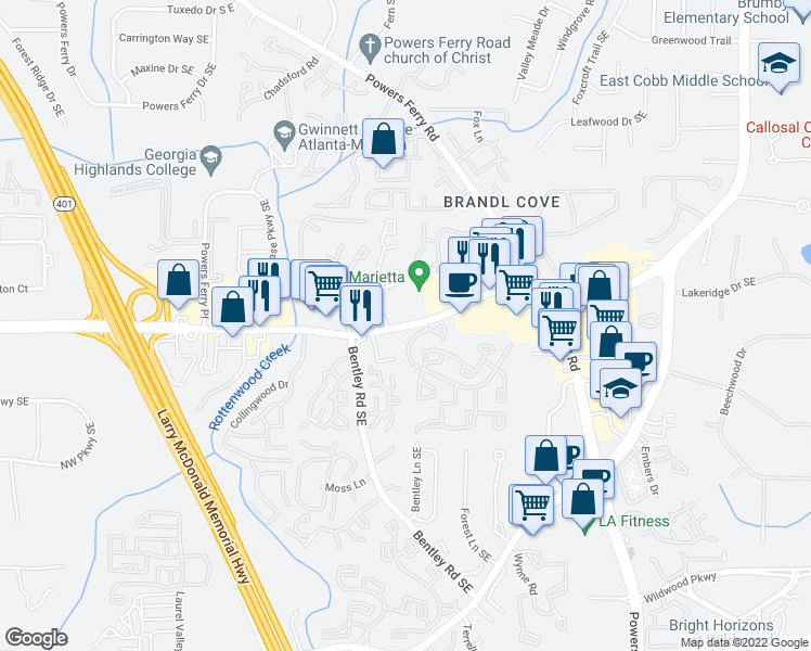 map of restaurants, bars, coffee shops, grocery stores, and more near 2726-2738 Delk Rd in Marietta