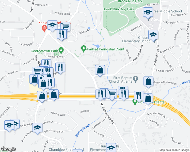 map of restaurants, bars, coffee shops, grocery stores, and more near 4444 N Shallowford Rd in Atlanta