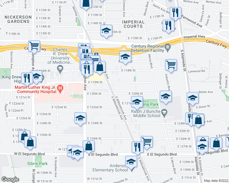 map of restaurants, bars, coffee shops, grocery stores, and more near 11934 Willowbrook Avenue in Los Angeles