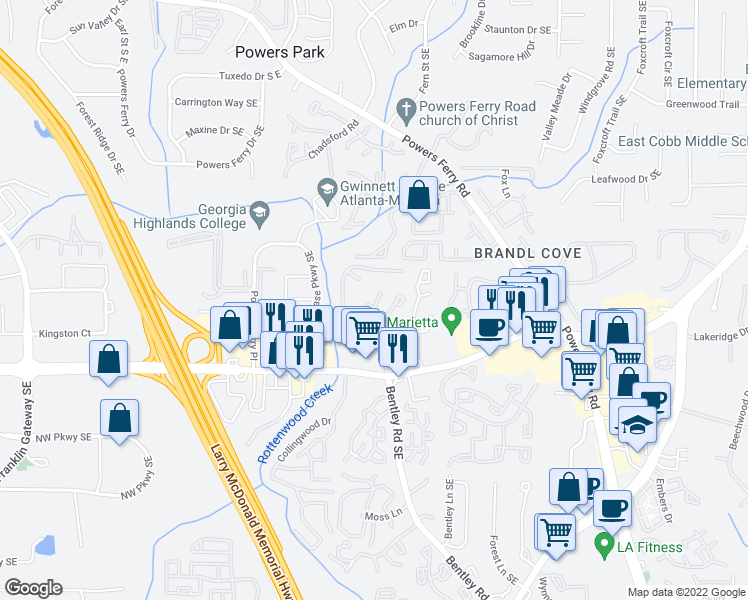 map of restaurants, bars, coffee shops, grocery stores, and more near 2575 Delk Rd SE in Marietta